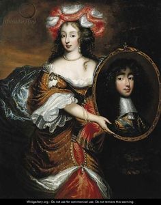 Henriette-Anne Stuart of England holding a portrait of her husband Monsieur, Philippe I d'Orleans, century after Caspar Netscher, Musée Condé, Chantilly Anna Stuart, Luís Xiv, Ludwig Xiv, House Of Stuart, 17th Century Clothing, French Royalty, French History, Historical Art, Fashion Painting
