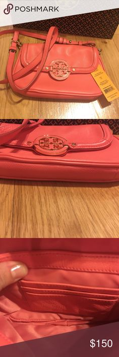 Tory Burch Amanda classic crossbody Super cute authentic Tory Burch pebbled Italian leather Amanda Crossbody. Bag is like new, excellent condition. Description says strawberry, but it's more like a beautiful coral/salmon color. Pair with a cute Sundress or Jeans and a T! Tory Burch Bags Crossbody Bags