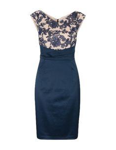 Aansluitende jurk met bloemdetails Blauw