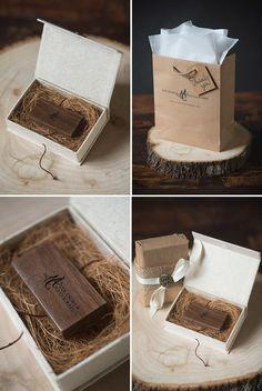 dark oakwood custom usb drive with paper bag packaging