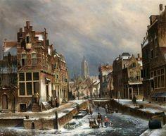 Oene Romkes De Jongh - Winters gezicht op een Amsterdamse gracht