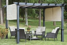 Garden Treasures 10u0027 Pergola Canopy with Ties & Shop Garden Treasures 134-in W x 134-in L x 92-in H x Matte Black ...