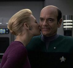 Jeri Ryan and Robert Picardo as Seven of Nine and The Doctor in Star Trek Voyager.   Two characters I enjoyed in what was my least favorite Star Trek.