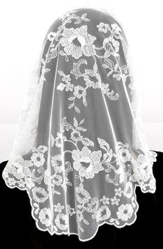 Anna Veils Chapel Catholic Veil Spanish Lace Mantilla Medium - Margaret (White)