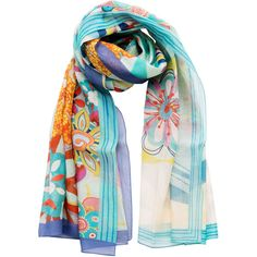 Flora-retro flowers silk cotton shawl/wrap/pareo-aqua (155 BAM) ❤ liked on Polyvore featuring accessories, scarves, cotton scarves, wrap scarves, retro scarves, multi colored scarves and flower scarves
