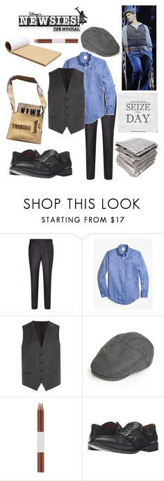 """""""Jack Kelly (Newsies)"""" by getsherlock ❤ liked on Polyvore featuring Ted Baker, Brooks Brothers, HUGO, Faber-Castell, John Varvatos, men's fashion and menswear"""