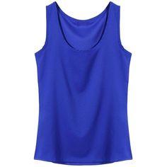 Yoins Blue Round Neck Chiffon Vest-Blue S/M/L (665 INR) ❤ liked on Polyvore featuring tops, shirts, tank tops, sleeveless tops, blue, camisoles & tank tops, sleeveless shirts, cami shirt, sleeveless vest and sleeveless chiffon shirt
