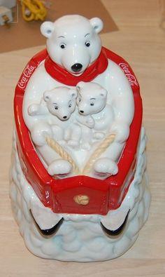 Coca-Cola Polar Bear Family in sled cookie jar