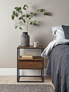 Industrial Wooden Bedside Table Industrial Wooden Bedside Table Bedside Tables Dining Coffee & Side Tables Luxury Home Furniture The post Industrial Wooden Bedside Table appeared first on Slaapkamer ideeën. Bedside Table Styling, Bedside Table Decor, Modern Bedside Table, Bedside Table Design, Dark Wood Bedside Table, Small Bedside Tables, Modern Table, Luxury Home Furniture, Living Room Furniture