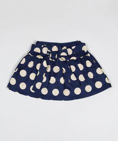 Navy Polka Dot Thumb Skirt - Toddler & Girls by Down East Basics #zulily #zulilyfinds