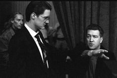 David Lynch and Kyle Maclachlan on the Twin Peaks' set