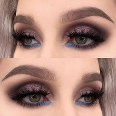 blue bottom lashline, taupe dark eyes