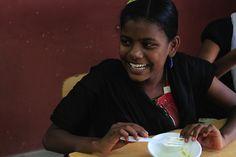 Look at that smile. Nathiya is definitely enjoying her noodle treat! #RSOkids #adorable #liftingthosewithleprosy