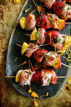 Grilled Salmon, Strawberry and Nectarine Kebabs
