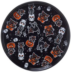 SOURPUSS CAT PLATTER BLACK - Squeeeee!! It's ok, we can't get enough of this vintage Halloween-inspired Black Cats pattern, either! Microwave and Dishwasher safe, this platter is almost as utilitarian as it is adorable... almost.