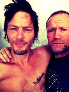 Norman Reedus (with stitches in the forehead) & Michael Rooker