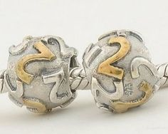 """Gold Number """"2"""" 925 Sterling Silver Charm/bead for Pandora, Biagi, Chamilia, Troll and More Bracelet general gifts. $17.99. Color:  Gold and silver. Hole Size: 4.5 mm. Quantity: 1pc. Suitable for 3mm Cable Pandora and other European Charm Bracelets. Materials: 18k gold plated over 925 Sterling Silver (Stamped)"""