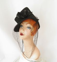 1940s tilt hat/ black/ NY Creation/ WW2 style by TheVintageHatShop, $65.00
