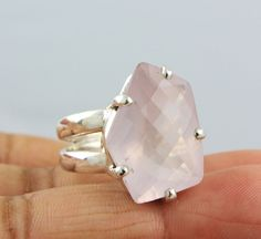 ROSE QUARTZ NATURAL GEMSTONE RINGS SILVER 925 STERLING JEWELRY 11.9 GM US 8.5 #Unbranded