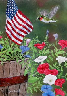 Patriotic Hummer Garden Flag from Just for Fun Flags. A beautiful Patriotic Hummingbird flag by artist Carol Decker for Custom Decor . The summer floral design is visible from both sides of the flag. Garden size is Wide x Long. Small Garden Flags, Small City Garden, Small Flags, Small Gardens, Hummingbird House, Hummingbird Tattoo, I Love America, Garden Decor Items, Patriotic Decorations
