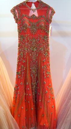 Heavy, coral, floor length embellished gown from Dolly J - Wills Lifestyle India Fashion Week 2014