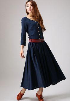 Marine Leinenkleid Maxi-Kleid Shirt-Kleid Plissee Kleid