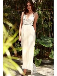 Embroidered Pleated Chiffon Flowing Dress White
