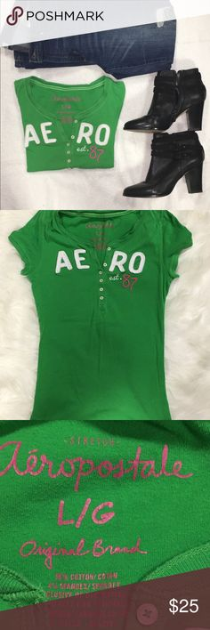 """Aeropostale t-shirt Beautiful colored Aeropostale t-shirt!  Perfect for spring!   Put this on when you think it's going to be warm out but then find out they were wrong and it's really going to snow 6"""".  It fits perfect under your parka.  Measures: 25.5"""" total length, 14"""" width.  (Approx). Aeropostale Tops Tees - Short Sleeve"""