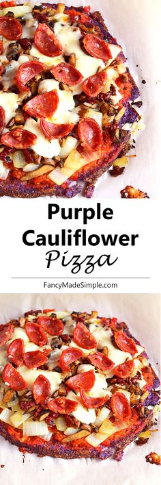 Purple cauliflower pizza crust loaded with toppings. Supper Recipes, Brunch Recipes, Healthy Food Choices, Healthy Recipes, Healthy Meals, Pizza Recipes, Cooking Recipes, Cauliflower Crust Pizza, Cauliflower Recipes