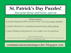 FREEBIE Friday: St. Patrick's Day Puzzles! A WH?s game from Communication Station: Speech Therapy, PLLC