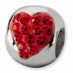 STERLING SILVER AUTHENTIC ZABLE RED ENAMELED HEART XOXO HUGS AND KISSES BEAD