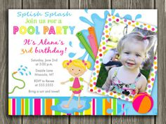 Pool Party Invitation - Thank You Card Included