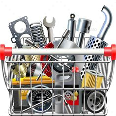 Folder include Ai and JPG files. Ai files can edit in Adobe Illustrator and CS. Vector Supermarket Cart with Car Parts Rear View isolated on white background. Gradients and blends used. Illustrator Cs5, Rear View, Car Parts, Portfolio Design, Vector Vector, Cart, Fonts, Content, Graphics