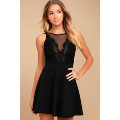 df56093badc5b The I Promise Black Lace Skater Dress will never let you down! Sheer mesh  accents the decolletage of a scalloped lace bodice with plunging neckline.
