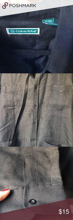 Cubavera linen shirt Black linen long sleeves shirt for men Cubavera Shirts Casual Button Down Shirts