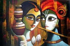 Indian Art - Radha Krishna Painting 2 - Canvas Prints by Raghuraman Krishna Painting, Madhubani Painting, Krishna Art, Radhe Krishna, Shree Krishna, Madhubani Art, Buddha Kunst, Buddha Art, Types Of Indian Paintings