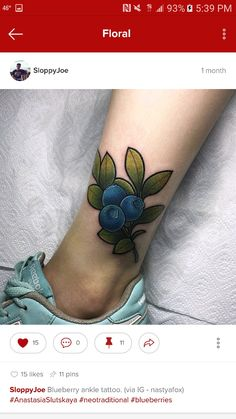 Blueberry ankle tattoo