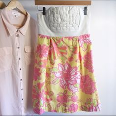 Lilly Pulitzer Dress. Gorgeous summer Lilly Pulitzer strapless dress. Worn about two times! Perfect condition, no stains or rips. Very comfortable and great for summer. Thanks for looking through my closet. Happy Poshing! Lilly Pulitzer Dresses