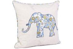 Elephant Applique Cushion | Blue