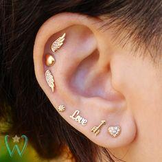Diamond Heart Earring Stud Earrings Cartilage Earring Helix Earring Gold Earrings Snap Back Earrings Gift for Her WishWhim Ear piercings Arrow Earrings, Helix Earrings, Crystal Earrings, Diamond Earrings, Stud Earrings, Cute Cartilage Earrings, Diamond Jewelry, Pierced Earrings, Circle Earrings