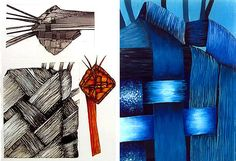 Exploring a natural forms theme, this sketchbook page shows visual research: drawings and paintings of a sculptural flax weaving, By Rebecca Betts, Year 11