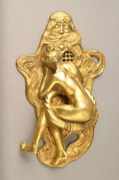 Vintage Female Figural, 1908 Door Knocker - Cast Gilt-Bronze: inscribed by artist, MAX BLONDATE/SIOT PARIS