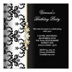 Damask Birthday Party Gold Black White Floral invitations Birthday invitations by zizzago.com
