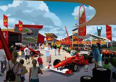 """Le parc à thèmes espagnol #PortAventura annonce """"FERRARI LAND"""", un concept autour du célèbre constructeur automobile. #Ferrari #Ferrariland #parcs"""