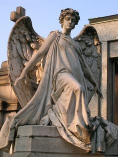 angel sculpture Sculpture on a gravestone in the monumental cemetery in Milan Cemetery Angels, Cemetery Statues, Cemetery Art, Old Cemeteries, Graveyards, Archangel Gabriel, Archangel Raphael, I Believe In Angels, Desenho Tattoo