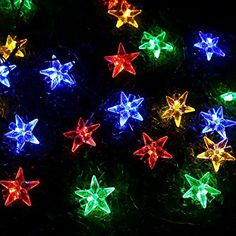 Amazon.com : Solar Outdoor Christmas String Lights by ApexPower, 8 Modes 30 LEDs Lucid Crystal Star Waterproof Light for Garden, Yard, Home, Landscape, and Holiday Decorations (Multicolored) : Patio, Lawn & Garden