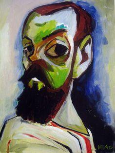 Caricatura do pintor francês Henri Matisse. Acrílico sobre papel.