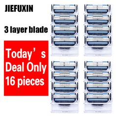 16pcs/lot  wholesale Razor High Quality Men's 3 layer Razor Blades Shaver Blades Shaving Blades Standard for RU&Eu US #Affiliate