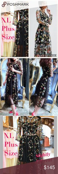 """❤️SALE 🌸HP🌸Embroidered Floral Gown 🌸🌸Beautiful Floral Embroidered Midi Length Dress features 3/4 length sleeves, lined bust & skirt. Brand new with tags🌸🌸Measurements: Tag XL (8-10): 36"""" bust/30""""waist/43""""long 🌸Tag 2XL (12-14): 38"""" bust/32.5"""" waist/43.5"""" long🌸Size 3XL (14-16) 40"""" bust/34"""" waist/44"""" long 🌸Tag 4XL (16-18) 43"""" bust/36"""" waist/44"""" long🌸Please order according to your measurements and US size. Tag size is 1-2 sizes smaller than standard US 🌸Host Pick 8/18🌸 Holiday…"""