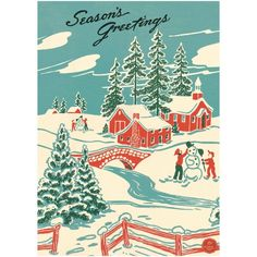 Seasons Greetings Winter Wonderland Poster This decorative paper is great for framing, making a hang Retro Christmas Decorations, Vintage Christmas Images, Vintage Christmas Ornaments, Vintage Holiday, Vintage Santas, Vintage Images, Christmas Poster, Christmas Art, Christmas Greetings